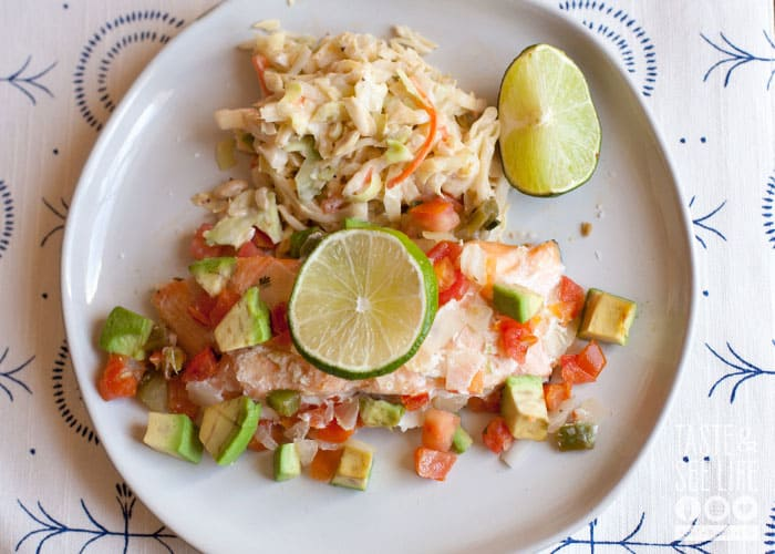 Baked Southwest Salmon and Chipotle Slaw